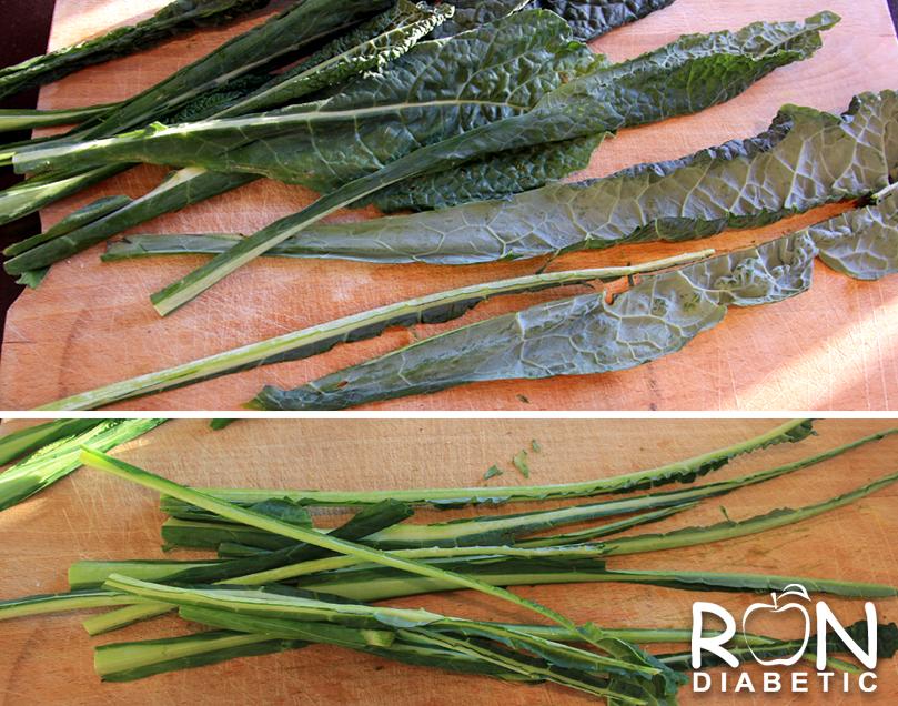 Удалить стебли у тосканской листовой капусты кале