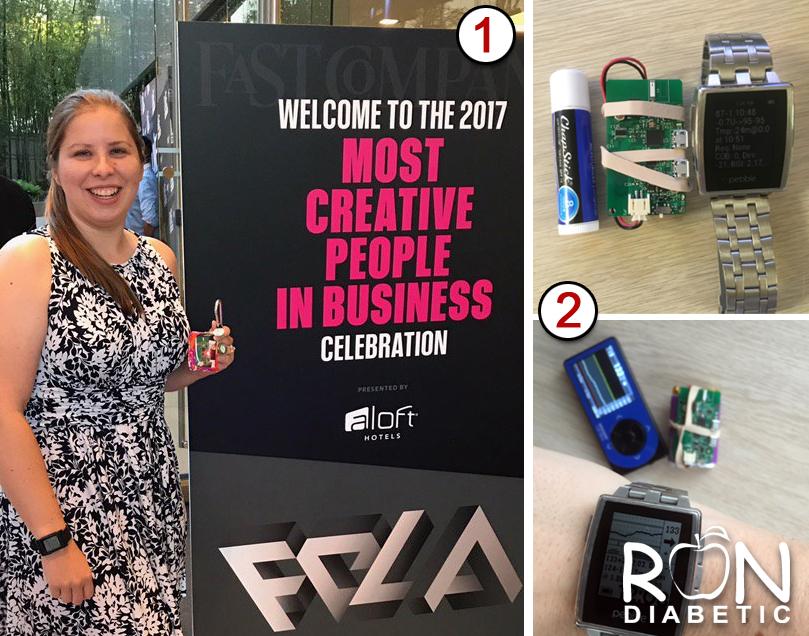 """Фото 1: Fast Company поставила 28-летнюю Люис в список """"100 самых креативных людей в бизнесе в Америке"""". Фото 2: На этом изображении показан размер контрольного устройства """"OpenAPS"""", которое изобрела Дана Льюис."""
