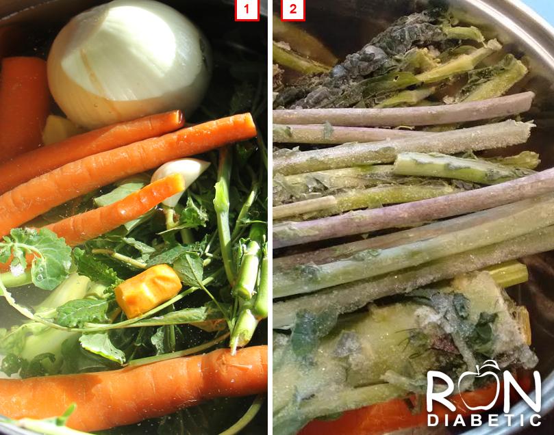 Овощной бульон - 1. Свежая зелень. 2. Замороженная зелень