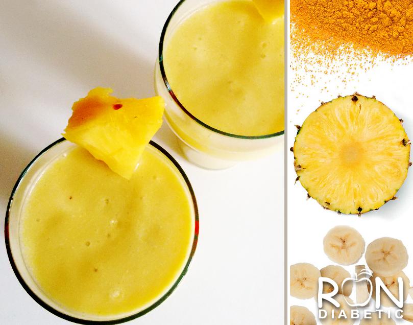 Полезный для диабетиков фруктовый смузи с ананасом и куркумой - aka Piña Colada
